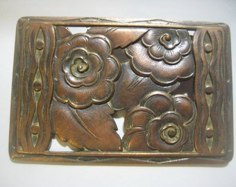 "Older Vintage French Art Deco Floral Design Brooch Pin Topper: Superb Classic Art Deco Floral Pattern, Patina Brass, 2 3/8"" x 1 1/2"", 1 Pc."