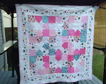 REDUCED 20% Beautiful Little Girls Lap Quilt, Adorable Cupcakes, Butterflies Girly quilt, throw lap quilt, baby quilt