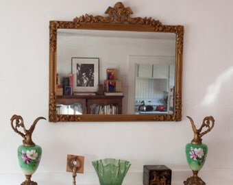 Antique Gold Mirror / Ornate Frame / Hollywood Regency Decor