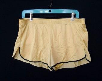Shiny GOLD Yellow & Black Vintage 1970's SKIMPY Men's Shorts Runner XS S
