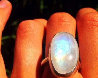 Large Moonstone & Sterling Silver Ring
