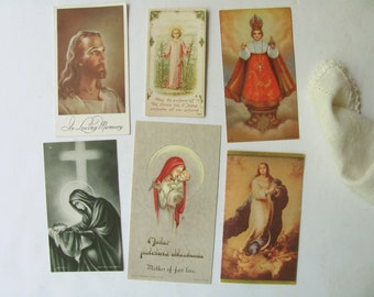 Vintage Holy Cards Prayer Cards Catholic Religious Picture Mother Mary Jesus Infant Prague God Belgium USA Prayer Book Funeral Card Ephemera