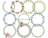 Floral Wreath clipart hand drawn clipart digital wreath clip art hand drawn clip art spring flower wreath clipart flower wreath digital