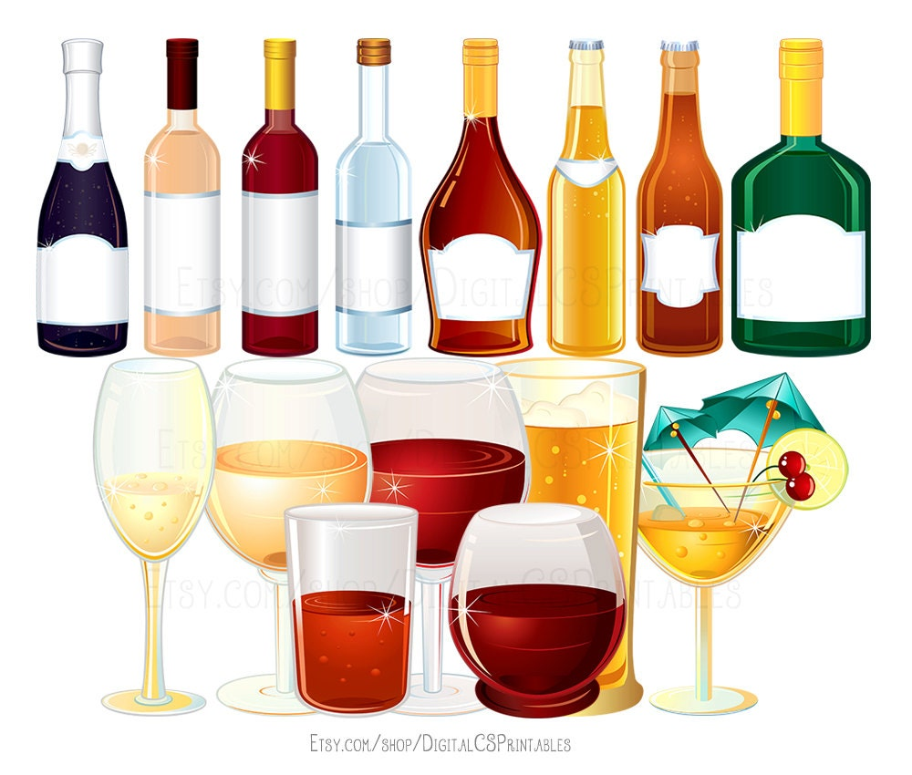 Drink clipart wine clipart alcohol clipart bottle clipart for Champagne mixed drinks