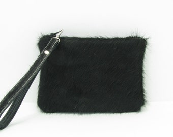 Cowhide Leather Clutch Bag / Wristlet / Cosmetic Bag / Hand Bag