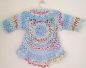 Toddler Sweater, Girls Blue Sweater, Toddler Girls Granny Sweater, Toddler's Blue Sweater