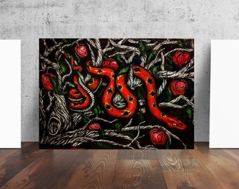Garden of Eden Tree of Knowledge Snake Serpent Art Print by Catherine Dolch