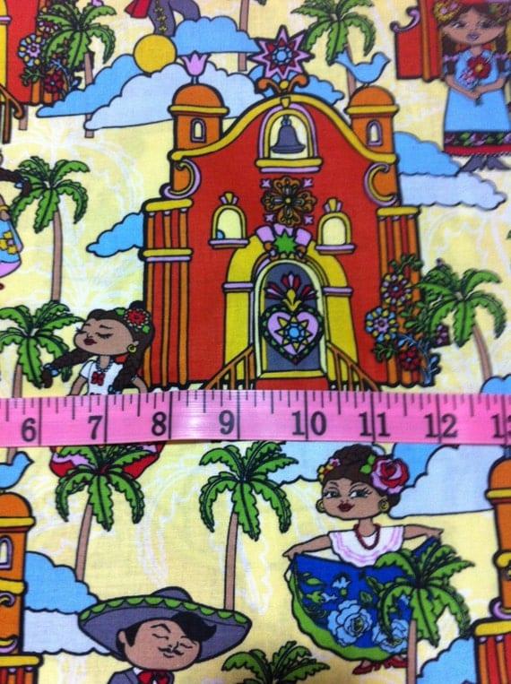 Mexican Folk Art Cotton Fabric Mexican Mariachi Sewing