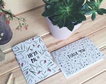 SALE! Greeting card pack of 6 (thank you/hiya pal)