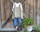 linen tunic jumper pinafore smock in dark natural flax ready to ship