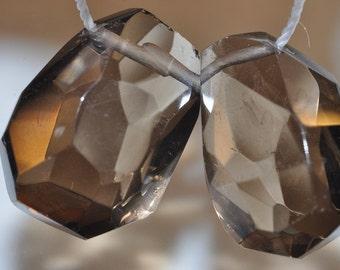 Listed@ 15%Off Sale was 7.99---2Pcs 13x17x9mm Gemmy~Translucent SMOKY QUARTZ Simple-Cut Pear Briolette Beads Pendant // Matched Piar - B1038
