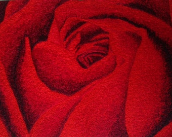 Embroidered Red Rose Painting