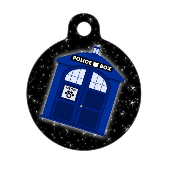 Pet ID Tag - Cat Blue Police Box Pet ID Tag, Cat tag