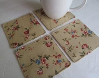 Set Of 4 Fabric Coasters/Flower On Beige