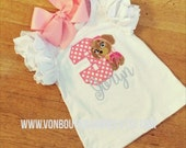 Sky puppy bow Personalized Boutique Number Birthday Boutique First 1st 2T 3 4 5 6 8 Girls Applique Short Long Sleeve Shirt Tank Top flutter