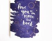 Love You to the Moon and Back Card - Copper Foil