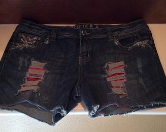 Distressed Sarape Jean Shorts