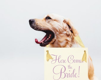 Here Comes The Bride Hanging Wedding Sign | Flower Girl Ring Bearer Card Stock Banner {Dog Or Kid} | Handmade in USA | Classic Script Font