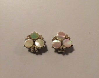 vintage 1950s mother of pearl and faux seed pearl earrings