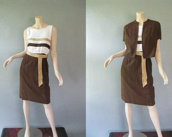 Vintage 1970s Dress and Bolero - 70s Color Blocked Dress with Belt L