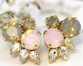 Gray Pink Opal Studs,Swarovski Cluster Studs,Pink Gray Opal Crystal Bridal Earrings,Gray Opal Stud Earrings,Bridal Earrings,Gift For Her