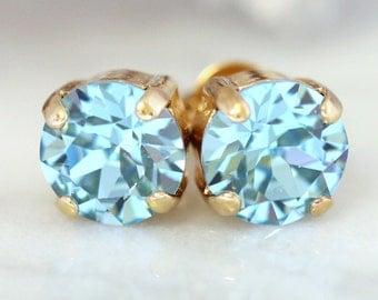 Aquamarine Earrings,Aquamarine Stud Earrings, Swarovski Crystal Aquamarine Earrings,Bridesmaids Earrings,Aquamarine Studs,March Birthstone