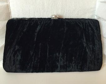 Vintage 60's Black Velvet Evening Clutch