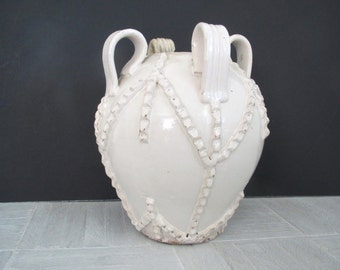 Vintage pottery/ white studio pottery/ decorative vase