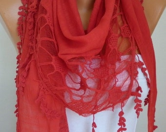 Red Scarf Spring Accessories Easter Shawl Cowl Scarf Gift Ideas for Her Women Fashion Accessories Mother's Day Gift