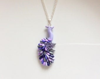 Flower girl necklace with lilac peacock pendant handmade from polymer clay