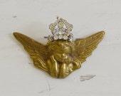 Wee Vintage Brass Cherub with Rhinestone Crown