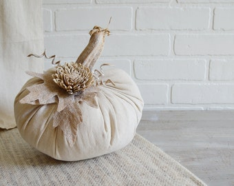 Large Fabric Pumpkin, Shabby Pumpkin, Farmhouse Pumpkin, Dropcloth Pumpkin, Clothandpatina, Rustic Pumpkin, Autumn Whites, Fabric Pumpkin