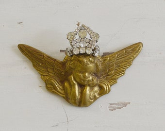 Wee Vintage Brass Cherub with Rhinestone Crown