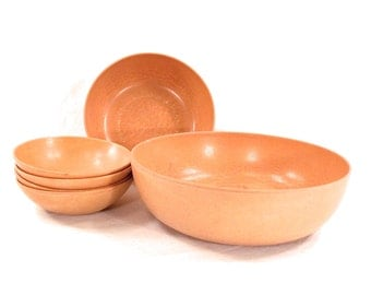 Danish Modern Salad Bowl Set, Ellingers Agatized Wood, Serving Bowls, Minimalist, Mid Century, Faux Wood,1950s, 60s, set of 6