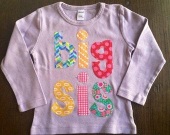 Big Sister Shirt, Big Sis Shirt, Big Sister Announcement Shirt, Sibling Shirt - Choose Sleeve Length and Shirt Color