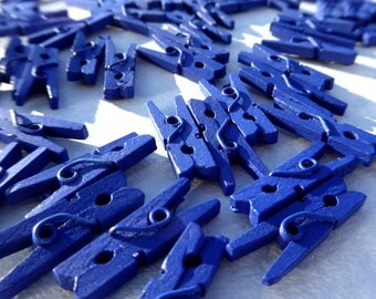 "Mini Clothespins in Royal Blue - 25 - 1"" or 2.5 cm - Wooden - Great for Party Favors Baby Shower Favors Scrapbooking and Paper Crafts"