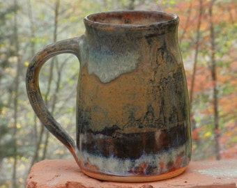 Earthy Brown Mug, 26 oz. Handmade Stoneware, Free Shipping, Microwave friendly