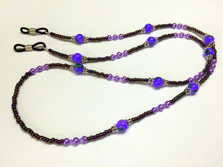 beaded eyeglass necklace holder lanyard purple eyeglass