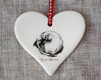 Valentine's Curled up terrier dog Heart