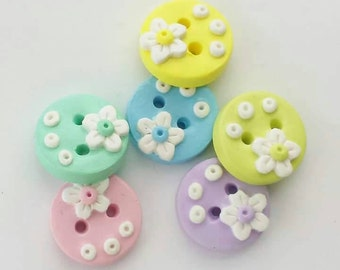 Buttons Spring White Flowers on Pastels Handmade polymer clay artisan buttons. ( 6 )