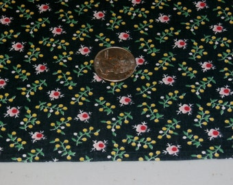 """Vintage 35"""" x 80"""", 1940s Pink, Yellow, Green Tiny Flowers on Black Cotton Fabric, Dress or Quilting"""