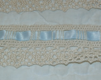 "Vintage Crocheted Trim with Baby Blue Ribbon Insert 1 1/4"" wide x 3 Yards, 6"""