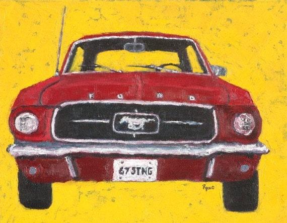 67 Ford Mustang Art Print Home Decor Wall Decor Boys Room Decor