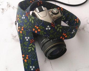 dSLR Camera Strap - Navy Floral - Blue Camera Strap dSLR - Flower Camera Strap