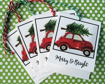 Christmas Holiday Gift Tags Merry and Bright with Volkswagon Beetle