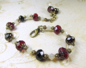 Adjustable Bracelet in Marsala Dark Red and Black Czech Glass with Swarovski Sand Opal ivory crystals on Brass