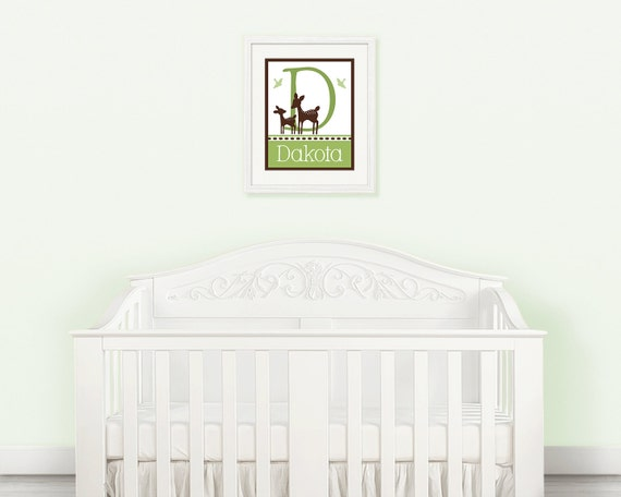 """Personalized with any Name & Letter """"Willow Deer Mom and Baby"""" 8x10 inch Initial/ Name Nursery Art Print So cute!"""
