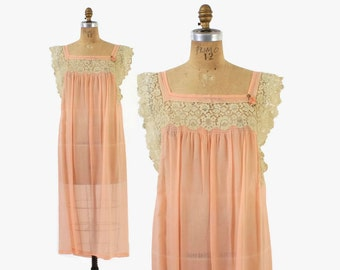 Vintage 20s SILK NIGHTGOWN / 1920s Peach Silk Crepe & Lace Slip Dress M