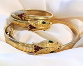 Vintage Rare Crown Trifari Cleopatra Cobra Choker Necklace And Bracelet Set