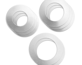 """Stamp Blanks Assorted Set Aluminum Washer 8 Pieces ImpressArt for Hand Stamping 1"""" to 1 1/2"""" - AA146"""